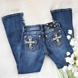 Miss Me | Gothic Cross Boot Stretch Jeans Size 26